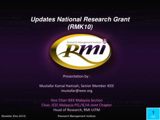 Updates National  Research Grant (RMK10)