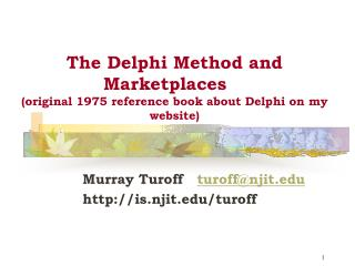 The Delphi method and Marketplaces