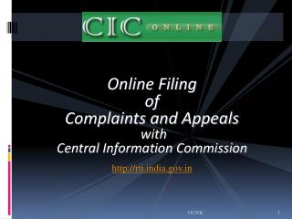 Online Filing  of  Complaints and Appeals  with  Central Information Commission