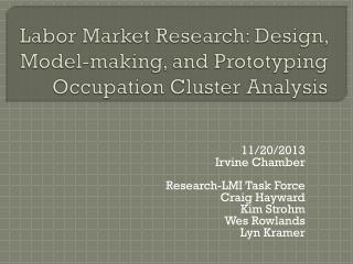 Labor Market  R esearch: Design, Model-making, and Prototyping Occupation Cluster Analysis