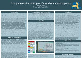 Computational modeling of  Clostridium acetobutylicum Jonathan  Smeton Mentored by Dr. Margaret Hurley