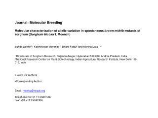 Journal: Molecular Breeding Molecular characterization of allelic variation in spontaneous  brown midrib  mutants of so
