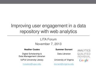 Improving user engagement in a data repository with web analytics