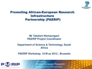 Promoting African-European Research Infrastructure  Partnership (PAERIP)