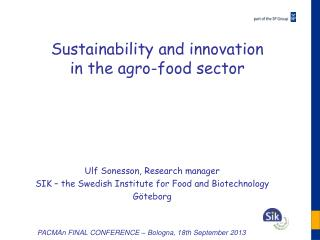 Sustainability  and innovation  in  the agro-food  sector