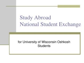 Study Abroad National Student Exchange