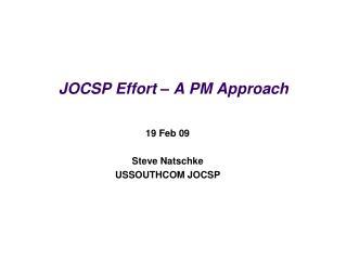 jocsp effort   a pm approach