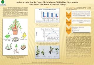 An Investigation Into the Culture Media Influence Within Plant Biotechnology. James Robert Hutchinson, Myerscough Colle
