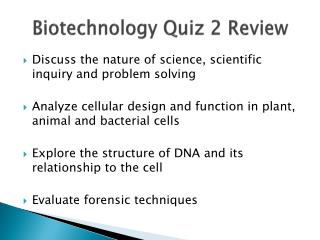 Biotechnology Quiz 2 Review