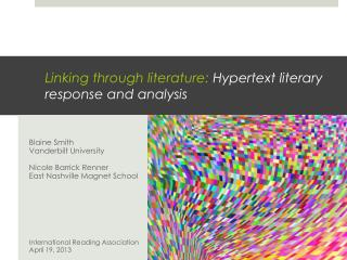 Linking through literature:  Hypertext literary  response and  analysis
