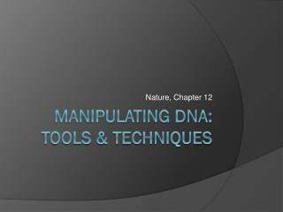 Manipulating DNA: Tools & Techniques