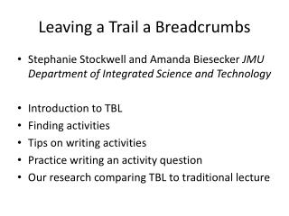 Leaving a Trail a Breadcrumbs