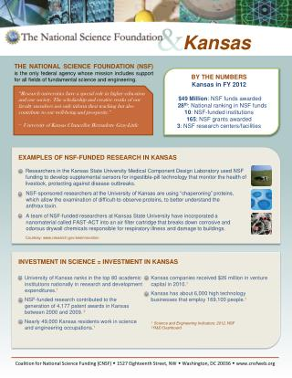 BY THE NUMBERS Kansas in FY 2012 $49 Million : NSF funds awarded 28 th : National ranking in NSF funds 10 : NSF-funded