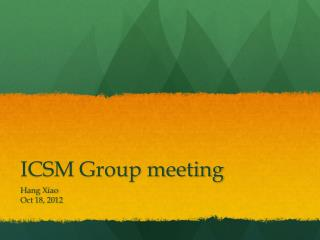 ICSM Group meeting