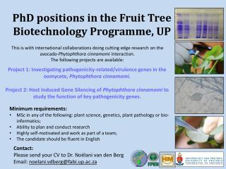 PhD positions in the Fruit Tree Biotechnology Programme, UP