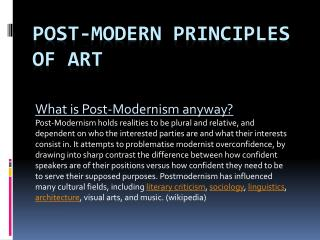 Post-Modern Principles  of art