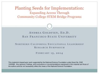 Planting Seeds for Implementation:  Expanding Access Through  Community  College  STEM Bridge  Programs