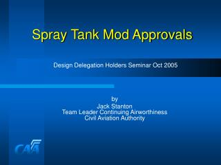 spray tank mod approvals