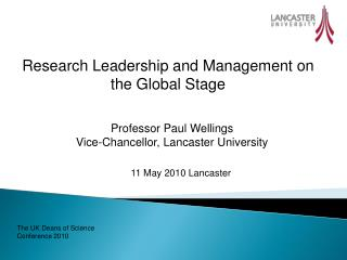 Research Leadership and Management on the Global Stage