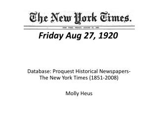 The New York Times Friday Aug 27, 1920