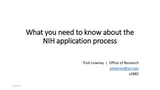 What you need to know about the NIH application process