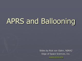 aprs and ballooning