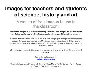 Images for teachers and students of science, history and art