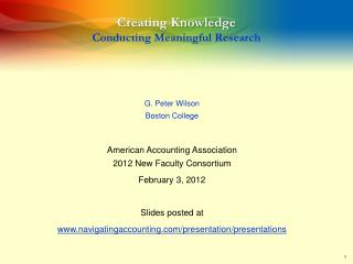 Creating Knowledge Conducting Meaningful Research