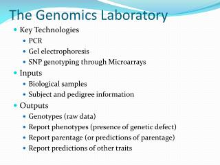 The Genomics Laboratory