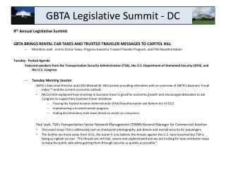GBTA Legislative Summit - DC