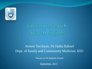 Literature search   Search Engines