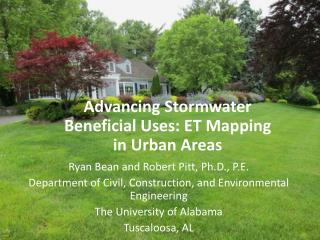 Advancing Stormwater Beneficial Uses: ET Mapping in Urban Areas