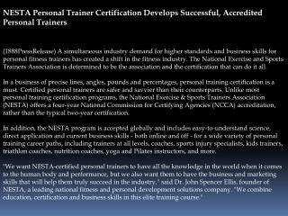 nesta personal trainer certification develops successful, ac
