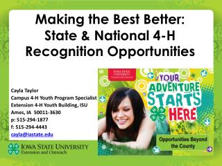 Making the Best Better: State & National 4-H Recognition  Opportunities