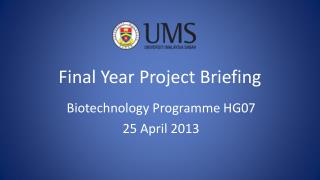 Final Year Project Briefing
