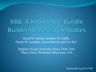 KBB: A Knowledge-Bundle Builder for Research Studies