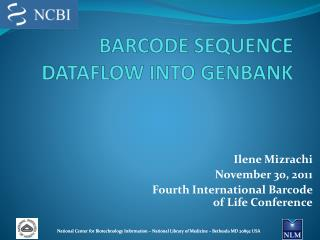 BARCODE SEQUENCE DATAFLOW INTO GENBANK
