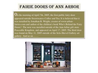 FAIRIE DOORS OF ANN ARBOR