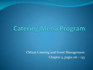 Catering Menu Program