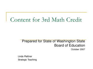 content for 3rd math credit