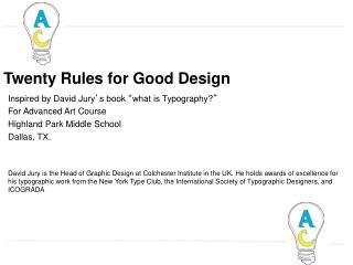 Twenty Rules for Good Design