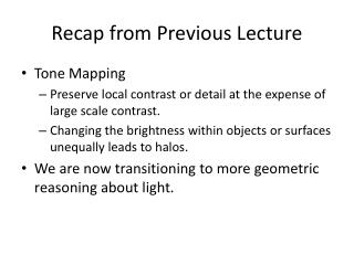 Recap from  Previous Lecture