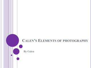 Calen�s  Elements of photography