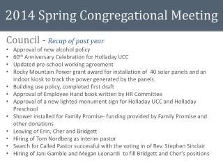 2014  Spring  Congregational Meeting