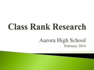 Class Rank Research