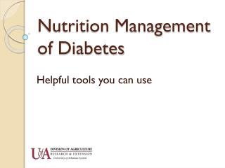 Nutrition Management of Diabetes