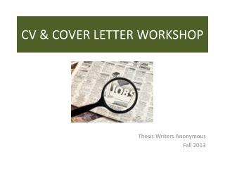 CV & COVER LETTER WORKSHOP