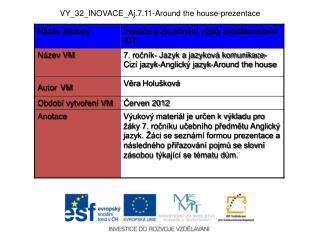 VY_32_INOVACE_Aj.7.11- Around the  house-prezentace