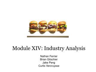 Module XIV: Industry Analysis Nathan Ferrier Brian  Gitschier Jake Peng Curtis  Vercruysse