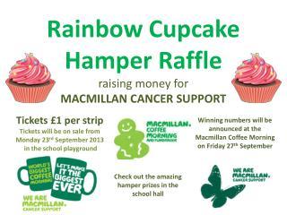 Rainbow Cupcake Hamper Raffle raising money for MACMILLAN CANCER SUPPORT